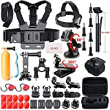 Adofys 49 in 1 Action Camera Accessory Kit Bundle Compatible for GoPro Hero 6 5 4 3/SJCAM/Akaso/Apeman/Xiaomi Yi Action Camera (49 in 1)