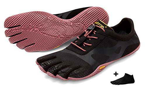 Vibram FiveFingers KSO EVO Women – Set – Outdoor dedos Zapatos/Bar Soporte con Gratis Calcetines de cinco dedos, Black/Rose, 37 EU