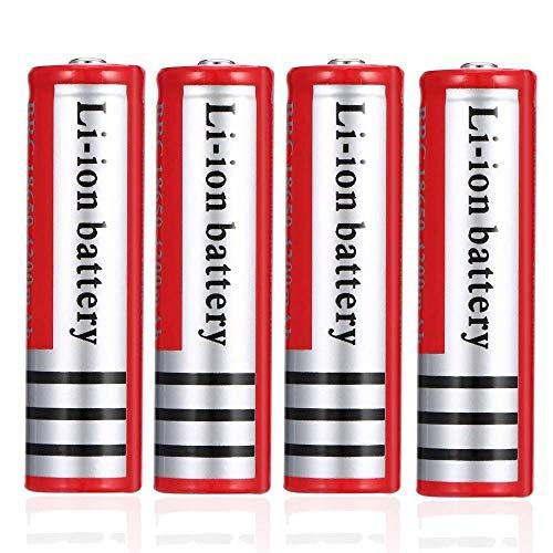 18650 3.7V ICR Pilas recargables de iones de litio de 4200 mAh de alta capacidad, linterna de bolsillo portátil, baterías de repuesto 1200 ciclos de larga vida (botón, juego de 4)