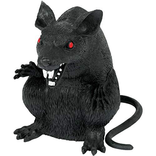 Amscan 397435 - Deko-Ratte, 1 Stück, Schwarz, Größe ca. 23 x 15 cm, Ratte aus Kunststoff mit weißen Zähnen und roten Augen, super Accessoire für die Halloween-, Grusel- oder Mottoparty, Karneval
