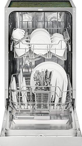 Bomann GSPE 7413 Einbau-Geschirrspüler, teilintegrierte Ausführung, 45 cm breit, 9 Maßgedecke, 6 Programme, LED-Kontrollanzeigen, Edelstahl