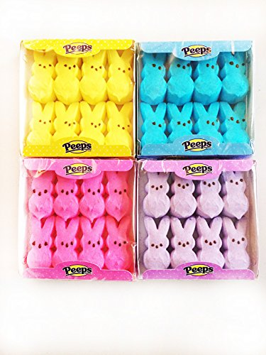 Peeps Marshmallow Easter Bunnies Bundle with 4 Colors: Blue, Yellow, Pink and Purple