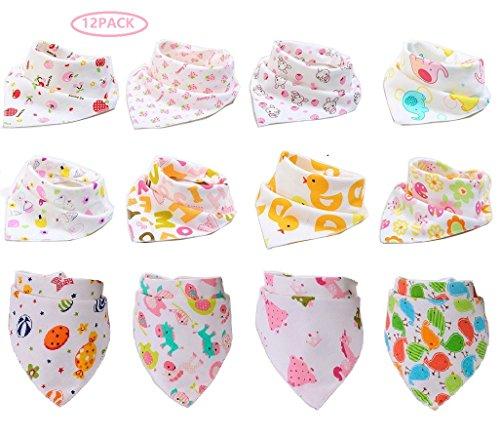 Fontee Baby Paquete de 12 bebé Bandana Baberos del pañuelo para Niñas Suave, cómodo, Lavable a máquina, muy absorbente Bandana baberos para dentición bebés, linda impreso bandana baberos (chicas)