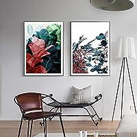 抽象的な花北欧のポスターとプリントキャンバス絵画壁アート写真リビングルームモダンな家の装飾壁画40x50x2cmフレームレス