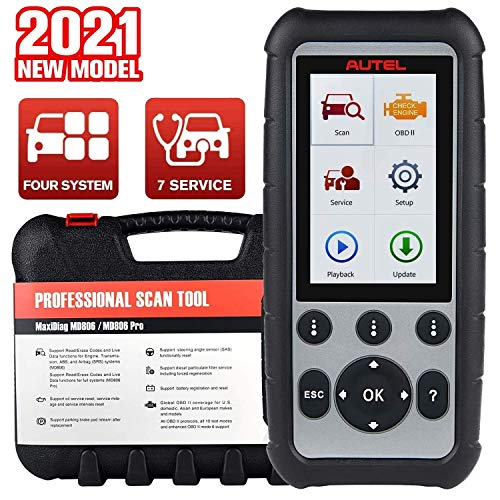 Autel MaxiDiag MD806 OBD2 Scanner, 2021 Newest Auto Scan Tool with ABS, SRS, Engine, Transmission Diagnostics, Oil Reset, EPB, SAS, DPF, BMS, Throttle, A/F, Lifetime Free Updates