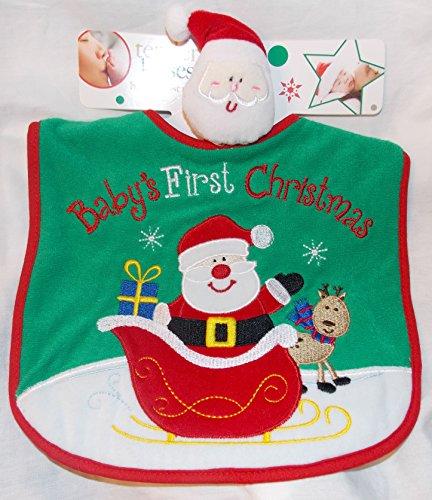 Green Baby's First Christmas Baby Bib with Santa Claus Wrist Rattle - Santa in Sleigh on Bib