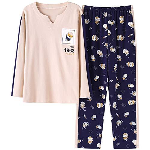 XFLOWR Schlafanzug für Herren, Herbst, Winter, langärmelig, Baumwolle, Pyjama, Cartoon, für Herren, Lounge, Pyjama-Set, Größen L-3 x L, XXXL