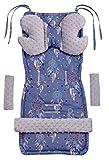 Universal Sitzauflage Kinderwagen & Buggys Sitzeinglage Kinderwagendecke 5tgl Gurtpolster + Spielbogen Kinderwagenset MINKY Baumwolle Medi Partners (Traumfänger mit grauen Minky)