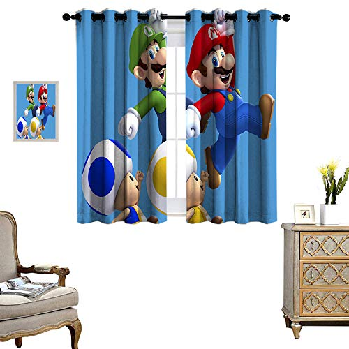 DRAGON VINES Windproof Curtain Newer Super Mario Bros Wii Sleeping Environment Turns Black Set of 2 Panels DKCL_K183xG160