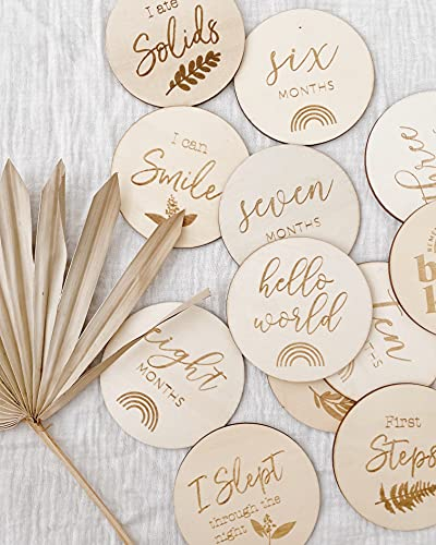 Baby Monthly Milestone Wooden Discs 12 Double Sided (24 Designs) Cards, Hello World Sign, Newborn Photo Props, Welcome Announcement, Hospital Birth Gift, Pregnancy Journey, Age Blocks