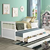 LZ LEISURE ZONE Kids Captain's Bed Twin Daybed with Trundle Bed and Storage Drawers (Snow White)