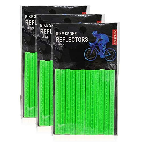 JCstarrie Bike Speichenreflektor Fahrrad MTB Fahrrad Rad Speichenreflektoren Clip Tube für Kinder Adult Bike Easy Mount 36PCS(GRÜN)