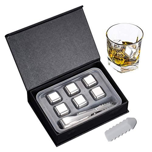 Juego de regalo de piedras de whisky, cubo de hielo de metal de whisky reutilizable de acero inoxidable, juego de piedras de hielo cuadradas y esféricas con clip (Cuadrado 6 piezas, con caja regalo)