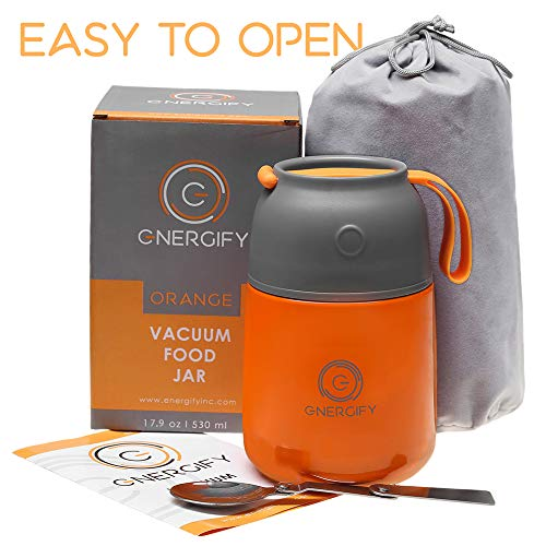 Energify Vacuum Insulated Food Jar - Stainless Steel Food Thermos, Soup Bowl, Lunch Container, Orange