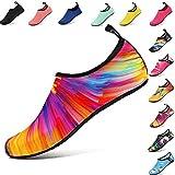 AGOLOD Hommes Femmes Chaussures d'eau Poids Léger Séchage Rapide Pieds Nus Chaussures de Plage Et Piscine Chaussons de Sport Aquatique (Coloré, S:EU38-39)