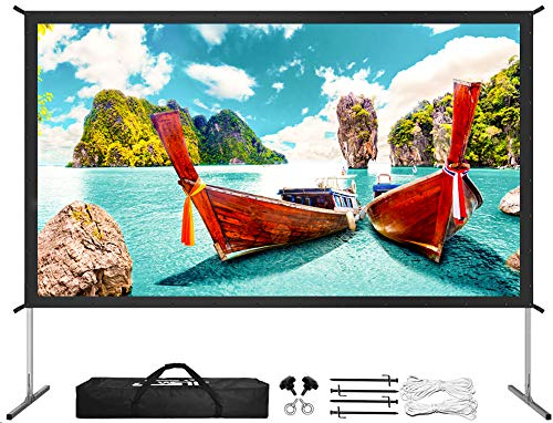 Projector Screen with Stand, Upgraded 3 Layers 135 inch 4K HD 16:9 Outdoor/Indoor Portable Front...