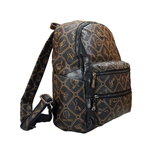 Rucksack Damen Mädchen Reisen Schultasche Lederimitat modern Handgepäck (Schwarz)
