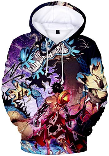 bettydom Men's Novelty Hoodies with The Japanese Anime One Piece Luffy Sweatshirt(L,A Blue Dragon-1)