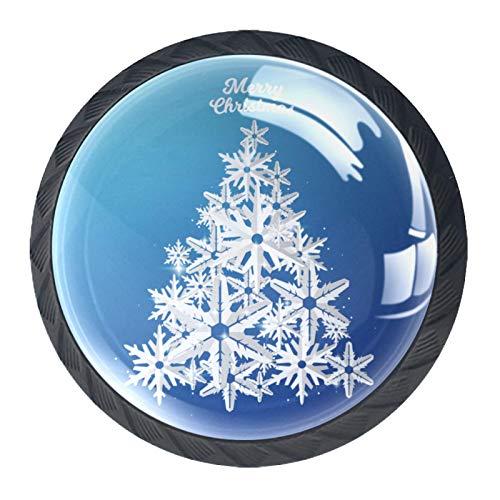 Árbol de Navidad con forma de copo de nieve cortado de papel 01 perillas para armarios de cocina de cristal para cajones, aparador, armarios de cocina, armario, baño, escritorio, etc.