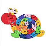 PROW Colorful Hecho Madera Caracol Forma Números Alfabeto Rompecabezas Rompecabezas Bloques de Construcción Seguros para Mejorar los Juguetes de la Memoria de los Niños