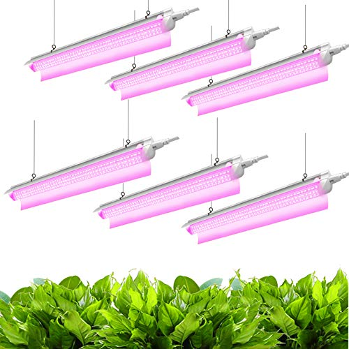 JESLED 4FT LED Grow Lights for Indoor Plants, 360W (6 x 60W, 2000W Equivalent) Full Spectrum Red&Blue T8 D-Shape LED Plant Light Fixture, Linkable Growing Lamp for Greenhouse, Plug and Play (6-Pack)