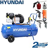 Hyundai HY30100V 3hp V-Twin Direct Drive Electric Air Compressor 14cfm, 100 Litre Steel Tank, Blue, Includes 5 Piece Air Tool Kit