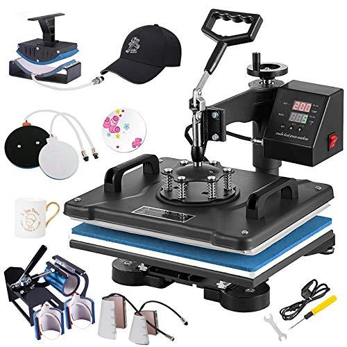 Weanas Pro 8 in 1 Combo Heat Press Machine 12' x 15' Digital Transfer Sublimation Swing-Away Machine for Hat/Mug/Hat Plate/Cap/T-Shirts