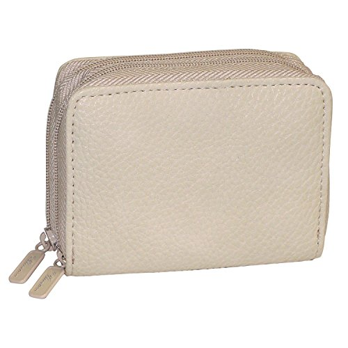 Buxton Womens RFID Accordion Double Zippered Wizard Credit Card ID Holder Travel Wallet (Natural)