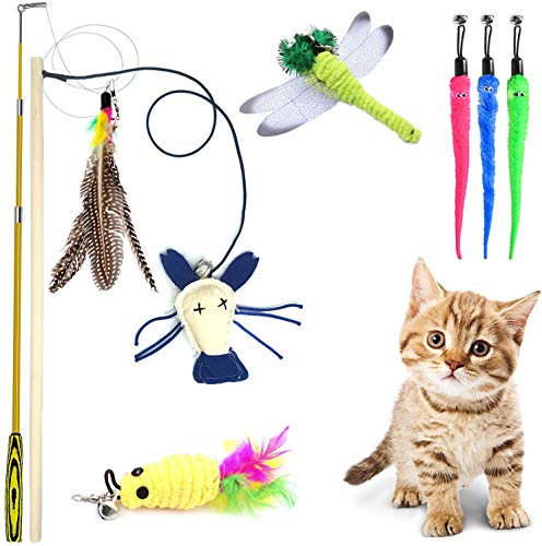 QIMMU Federspielzeug Katze,Katze Teaser Zauberstab,Einziehbare Katze Teaser,Katzen Angel, katzenfeder,katzenangel Feder Interaktives Spielzeug mit Federn,7 Befestigungen