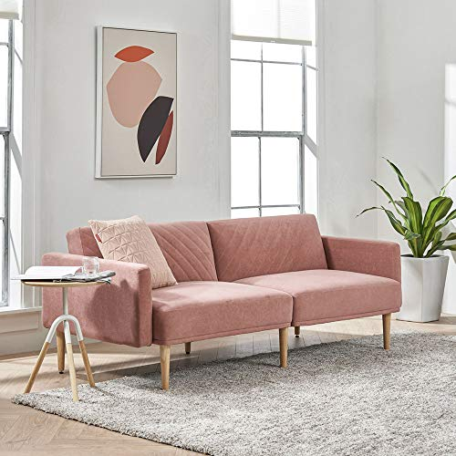 SSLine 77.5' Pink Velvet Sofa Bed Convertible Futon Sofa Mid-Century Living Room Couch Bed Sleeper with Wooden Leg Adjustable Futon Couches Lounger for Bedroom Dorm and Small Apartment