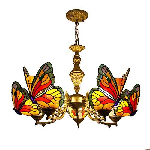 KBEST Candelabros De Estilo Tiffany, Aplique De Iluminación Colgante De Techo De Mariposa con Vitrales, Lámparas Colgantes para Dormitorio, Sala De Estar, Comedor, Bar, Cocina