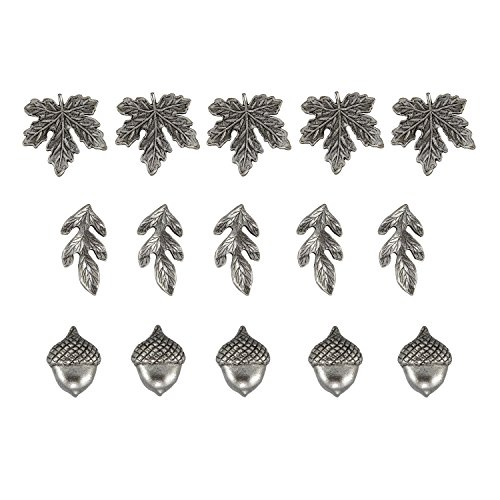 Fall Leaves and Acorn Metal Push Pins, Silver Finish, Solid Metal, 15 Pieces Photo #6