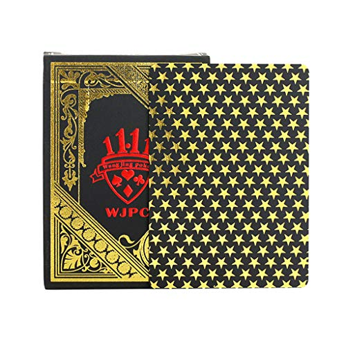 YIFEIJIAO Poker, i PVC Impermeable Poker Black Hot Gold-Plastic Poker Party Juego de Mesa Magic...