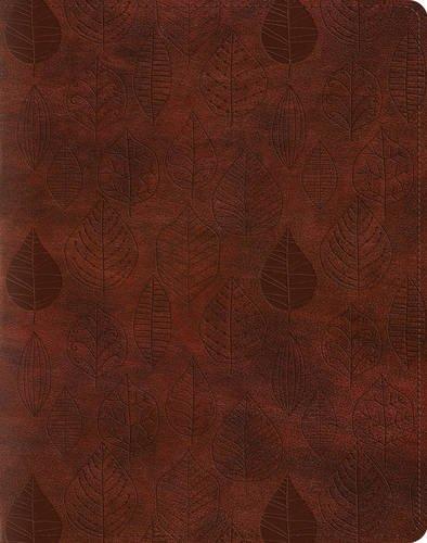 Holy Bible English Standard Version Single Column Journaling Bible, Trutone, Chestnut, Leaves Design