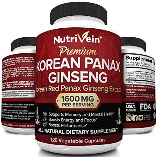 Nutrivein Pure Korean Red Panax Ginseng 1600mg -...