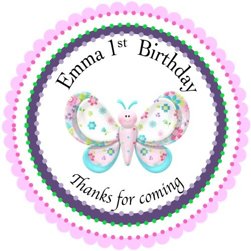 40 Round Labels 2' Personalized Stickers, Butterfly Customized Hangtags, Party Favors Labels, Cupcake Toppers, Choice Of Size