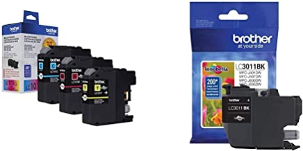Brother Genuine Standard Yield Color Ink Cartridges, LC1013PKS, Replacement Color Ink Three Pack & Printer LC3011BK Singe ...
