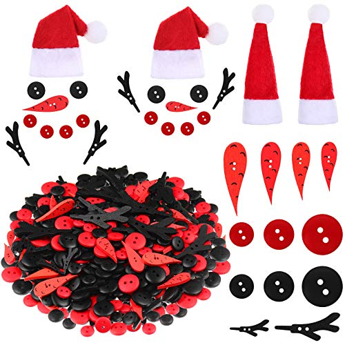 440 Pieces Christmas DIY Snowman Ornament Set Christmas Snowman Hat, Red Black Sewing Buttons, Carrot Nose Buttons, Snowman Arms Decorations for Christmas DIY Snowman Crafts Making Party Supplies
