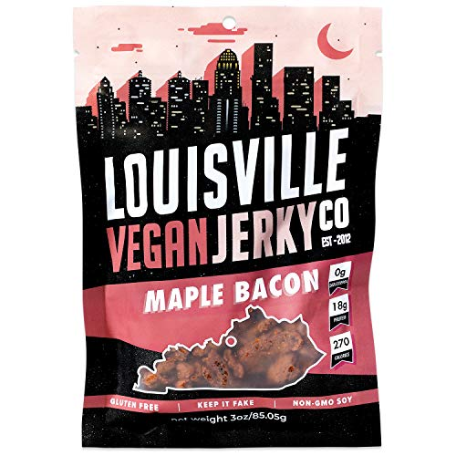 Louisville Vegan Jerky - Maple Bacon, Vegetarian and Vegan Friendly Jerky, 21 Grams of Non-GMO Soy Protein, Gluten-Free Ingredients (3 Ounces)