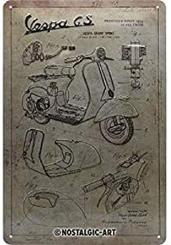 Nostalgic-Art Cartel de chapa retro Vespa – Parts Sketches – Idea de regalo para los aficionados a las scooters, metálico, Diseño vintage, 20 x 30 cm