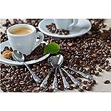 GRÄWE Espressolöffel 6 Stück, Espresso Löffel aus Edelstahl, spülmaschinengeeignet - Rosendekor - 2