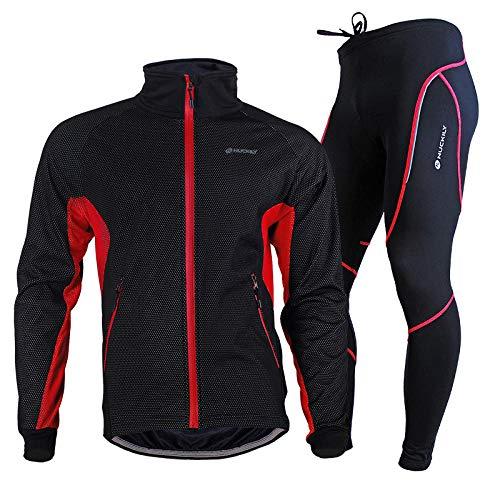 CptBtptPyy Pantalon Cuissard VTT 3D Coussin,Costumes de Cyclisme pour Hommes, Vestes de Cyclisme d'hiver Longues, Pantalons de Cyclisme-Rouge_2XL