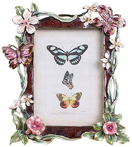 MIMORE Rechteckiger Metall-Bilderrahmen mit Strasssteinen, verziert mit Schmetterlingen und Blumen, Heimdekoration, Tischrahmen, 4,1 x 6,1 cm