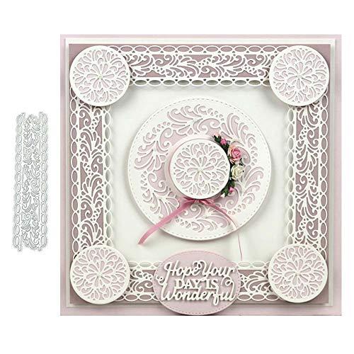 Zhouba Stanzschablonen aus Metall, für Kartenherstellung, Spitzen-Dekoration, für Scrapbooking, Papierkarten, Schablone – Silber
