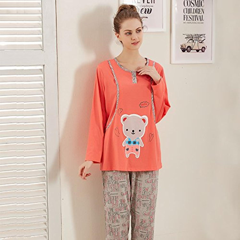 MHRITA Women's clothing, pajamas, ladies, cotton brand, pregnant women, maternity, spring and autumn home wear,Watermelon Red,XL