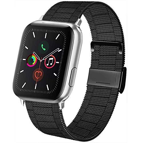 AK kompatibel mit Apple Watch Armband 38mm 40mm 42mm 44mm, Metall Edelstahl Ersatzarmband kompatibel mit iWatch Series 5/4/3/2/1 (02 Schwarz, 42mm/44mm)