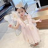 SUNXC Niña Princesa Vestido Disfraz, Vestido Princesa con Lentejuelas-B_120cm,Vestido de Princesa Fiesta de Vestir Disfraces