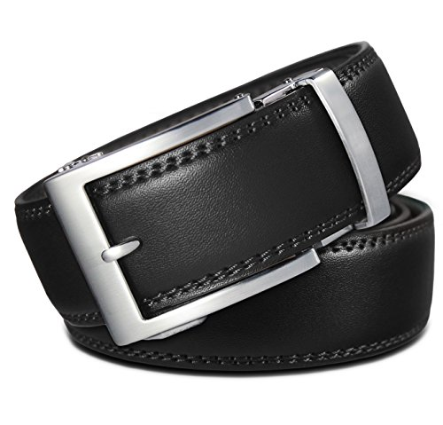 Classic Men's Leather Ratchet Click Belt - Brushed Silver Buckle with Double Stitched Black Leather Belt (Trim to Fit: Up to 38'' Waist)