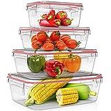 Home Fleek - Envases de Vidrio Rectangular para Alimentos | Herméticos | Sin BPA (Rojo,...