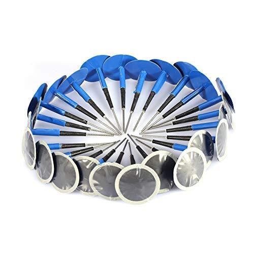 EVGATSAUTO Reifenstopfen Patch Gum, 24 Stück Auto Motorrad Universal Tubeless Rubber Blue Reifenpunktion Reparatur Pilz Plug Patch Gum(48 * 6 mm)